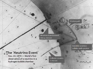 Първото в историята детектиране на неутрино в мехурчеста камера през 1970г.