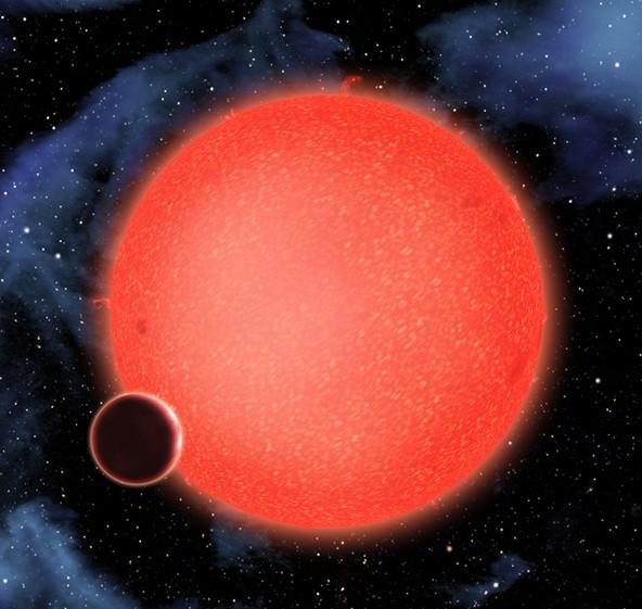 Творческа концепция показваща звездата и водната планета в орбита. Източник: NASA
