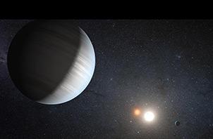 Визията на художник за системата Кеплер-47. Изображение: NASA/JPL-Caltech/T.Pyle