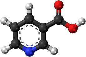 Модел на молекулата на витамин B3.