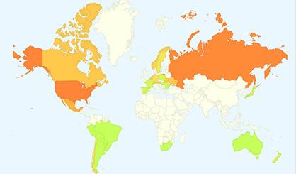 Google приложението позволяваща да се проследи грипната ситуация в световен мащаб, използвано в изследването на учените за прогнозиране на разпространението на грипа. Изображение: Google Flu Trends