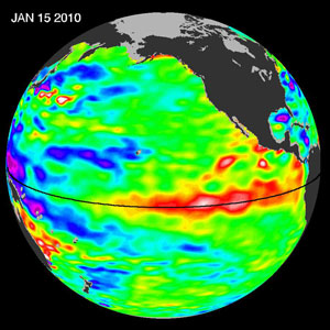 Ел Ниньо регистрирано през 2010-та година. На снимката се вижда как океанска вода с повишена температура (в червено) се насочва към бреговете на Южна Америка. Снимка: НАСА