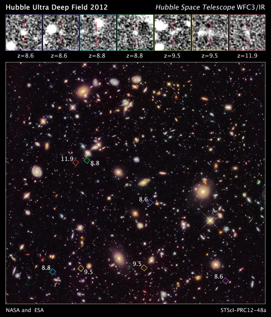 Снимката направена от телескопа Хъбъл, показва седемте новооткрити галактики (в ромбчетата), една от които може би е най-ранната заснемана до сега (кликни за по-голяма версия). Снимка: NASA, ESA, R. Ellis (Caltech), UDF 2012 Team