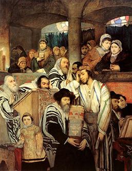 Картина от 19-ти век изобразяваща източноевропейски евреи ашкенази по време на Йом Кипур