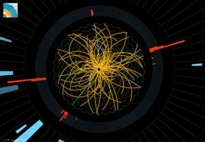 Протон-протонен сблъсък в апарата CMS, CERN в един от многото експерименти проведени в ускорителя на частици, които целяха намирането на Хигс бозона. Точното разбиране на свойствата на протона е от голямо значение за физиката. Снимка: CMS, CERN