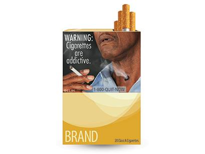 Графично изображение поставяно върху цигарите в САЩ. Изображение: FDA