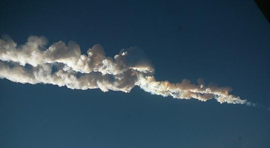 Следата оставена от челябинския метеорит. Снимка: Nikita Plekhanov