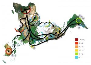 Карта на миграцията на човека, която се базира на изследване на митохондриална ДНК. Северният полюс е в центъра, Африка - от където е започнал процеса - е горе вляво, Южна Америка е най-вдясно. Според новото изследване, освен генетичните данни, трябва да се вземе предвид и влиянието на климата.