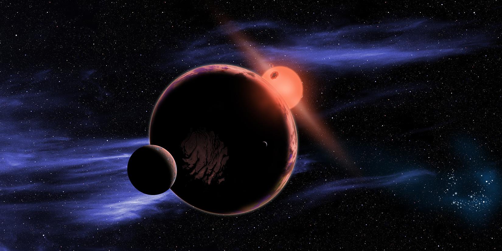 Художествена концепция за обитаема планета с две луни, обикаляща около червено джудже. Според изследването 6% от тези звезди имат подобни на Земята планети (кликни за по-голяма версия). Изображение: David A. Aguilar (CfA)