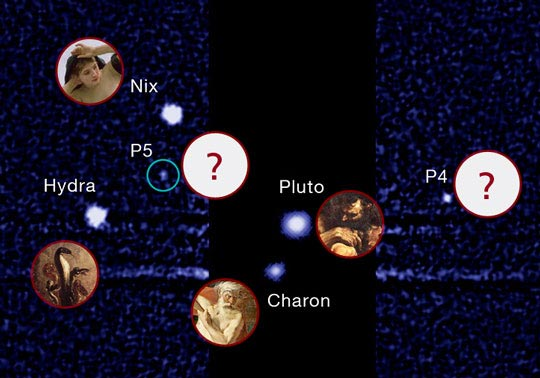 По традиция, луните на Плутон се наричат с имена, свързани с бога Хадес и подземния свят (от гръцката митология). Източник: SETI
