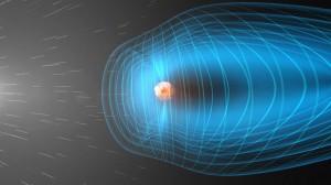 Слънчевият вятър във взаимодействие с магнитосферата на Земята (в синьо), която действа като щит. Изображение: НАСА