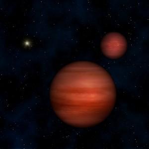 Художествена концепция за двойката звезди в WISE J104915.57-531906 и Слънцето в далечината (кликни за по-голяма версия). Изображение: Janella Williams, Penn State University