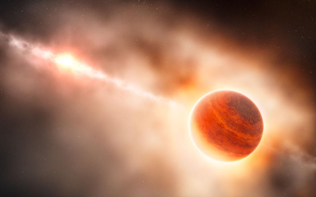 Художествена концепция за протопланетата около HD 100546. Изображение: ESO