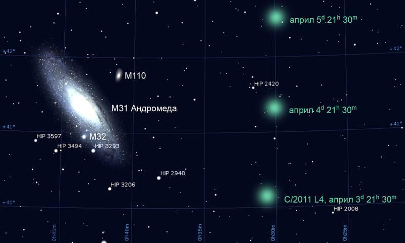 Видимото преминаване на кометата Панстарс покрай галактиката Андромеда през месец април. Изображение: НАО Рожен