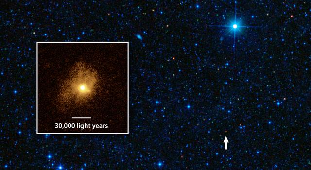 Галактиката SDSSJ1506+54 преобразува съдържащия се в нея газ в звезди с почти стопроцентова ефективност. Снимка: NASA/JPL-Caltech/STScI/IRAM
