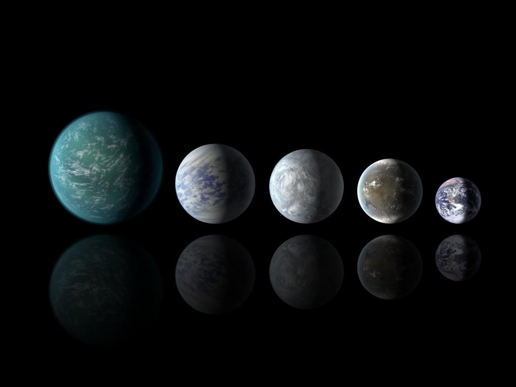Размерите в сравнителен мащаб на всички планети на орбита в обитаема зона, открити до момента. По ред от ляво надясно : Kepler-22b, Kepler-69c, Kepler-62e, Kepler-62f и Земята (кликни за по-голяма версия). Изображение: NASA Ames/JPL-Caltech