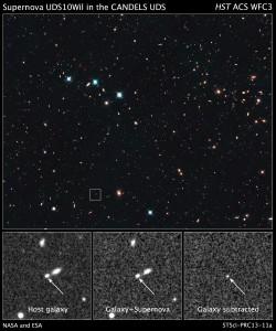 Изображението на суперновата SN UDS10Wil, получено с телескопа Хъбъл (кликни за по-голяма версия). Снимка: NASA, ESA, A. Riess (STScI and JHU), and D. Jones and S. Rodney (JHU)