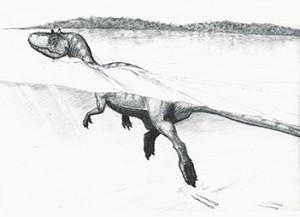 Плуващ теропод. Илюстрация: Guillaume Suan, University Lyon