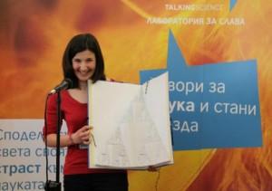Галя Пенчева, която получи наградата и на журито и на публиката, ще се състезава на международния финал на FameLab в Челтнъм, Англия. Снимка: FameLab