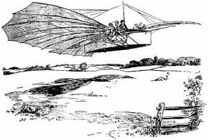 """Рисунка към статията за успешния полет на Уайтхед в """"Бриджпорт Хералд"""" от 18-и август 1901г."""