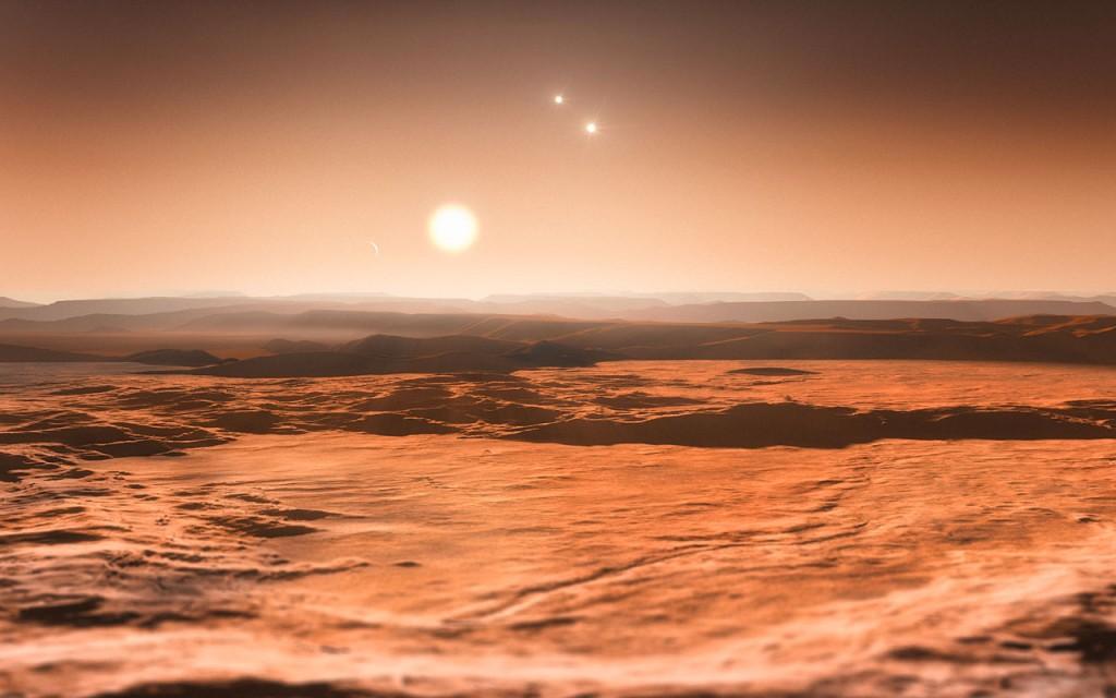 Художествена концепция за изглед от планетата Глизе 667Cd към слънцето, около което обикаля. Изображение: ESO / M. Kornmesser