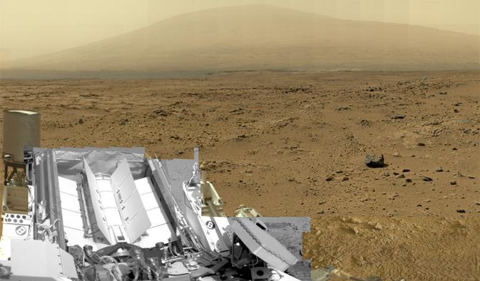 """Част от панорамата с резолюция 1,3 милиарда пиксела. Вижда се """"Кюриосити"""" в участъка Рокнест, където роувърът взе проби от грунта. Изображение: NASA/JPL-Caltech/MSSS"""