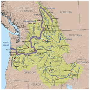 Речният басейн на река Колумбия. Въглеродният двуокис се инжектира на изток от град Ванкувър, между Кеневик и Пендълтън. Снимка: Kmusser (CC BY-SA 3.0)