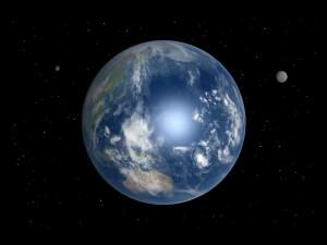 Художествена концепция за Земята с две луни. Изображение: Grebenkov (CC BY-SA 3.0)