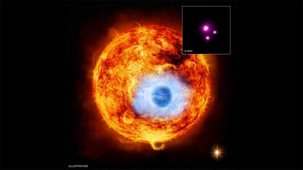 """Графиката показва HD 189733b - първата екзопланета, чието преминаване пред звездата, около която обикаля, е заснето в рентгеновия диапазон. Горе вдясно е снимката, направена от телескопа """"Чандра"""". Изображение: X-ray: NASA/CXC/SAO/K. Poppenhaeger et al; Illustration: NASA/CXC/M. Weiss"""