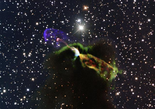 Обектът Herbig-Haro 46/47, в който се ражда новата звезда. Снимка: ESO/ALMA (ESO/NAOJ/NRAO)/H. Arce. Acknowledgements: Bo Reipurth