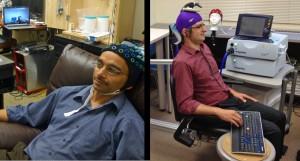 Андреа Стоко и Ражеш Рао осъществяват директна връзка между мозъците си през интернет. Снимка: University of Washington