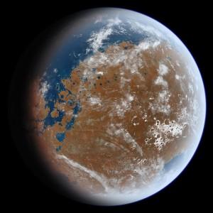 Марс както може би е изглеждал преди милиарди години. Илюстрация: Ittiz/Wikipedia (CC BY-SA 3.0)