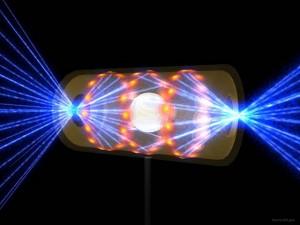 Илюстрацията показва как лазерите на НВС проникват в капсулата, съдържаща водородното гориво. Илюстрация: National Ignition Facility
