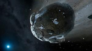 Илюстрация на останките от богатия на вода свят около звездата GD 61. Източник: Mark A. Garlick, space-art.co.uk, University of Warwick / University of Cambridge