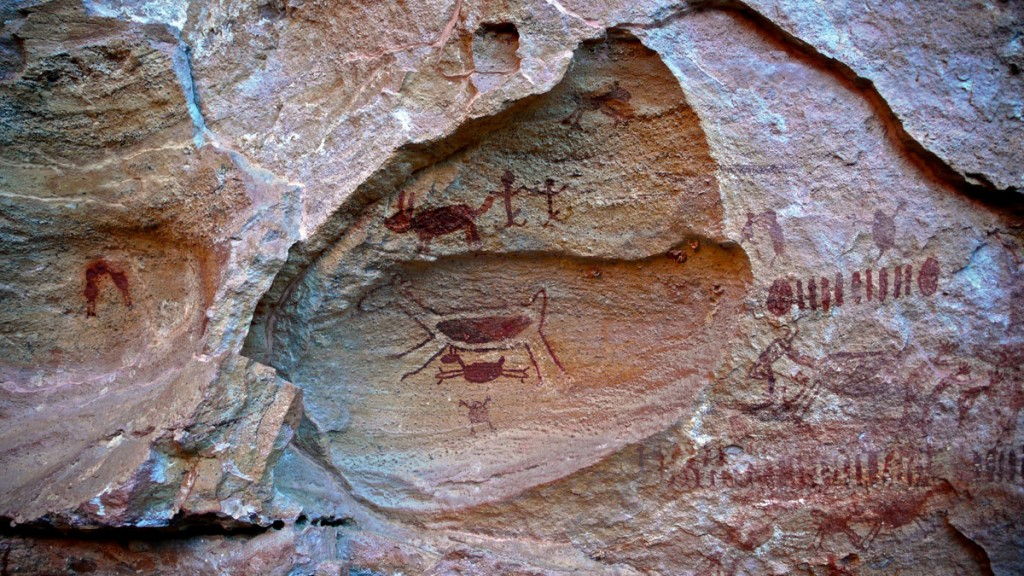 Скални рисунки, открити в парка Сера да Капивара в Бразилия. Снимка: Marco Del Fiol (CC BY 2.0)