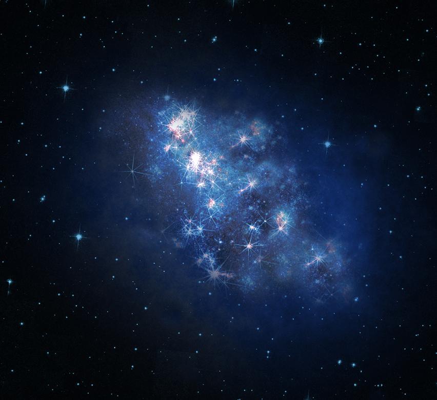 Илюстрация на галактиката z8-GND-5296, отстояща на 30 милиарда светлинни години от нас. Автор: V. Tilvi, S.L. Finkelstein, C. Papovich, NASA, ESA, A. Aloisi, The Hubble Heritage, HST, STScI, and AURA.
