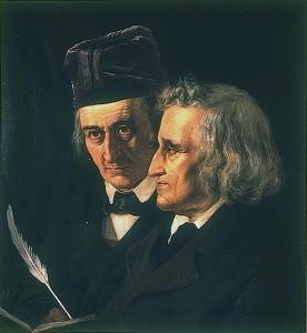 Братя Грим - отляво Вилхелм Грим, отдясно - Якоб Грим