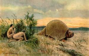 Илюстрацията показва палео-индианци по време на лов