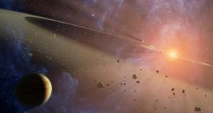 Скали, изхвърлени при сблъсъци на астероиди със Земята, може да са посяли живот на различни места в Слънчевата система. Илюстрация: NASA/JPL-Caltech