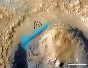 Илюстрацията показва как вероятно е изглеждало древното сладководно езеро в кратера Гейл. Илюстрация: NASA/JPL-Caltech/MSSS