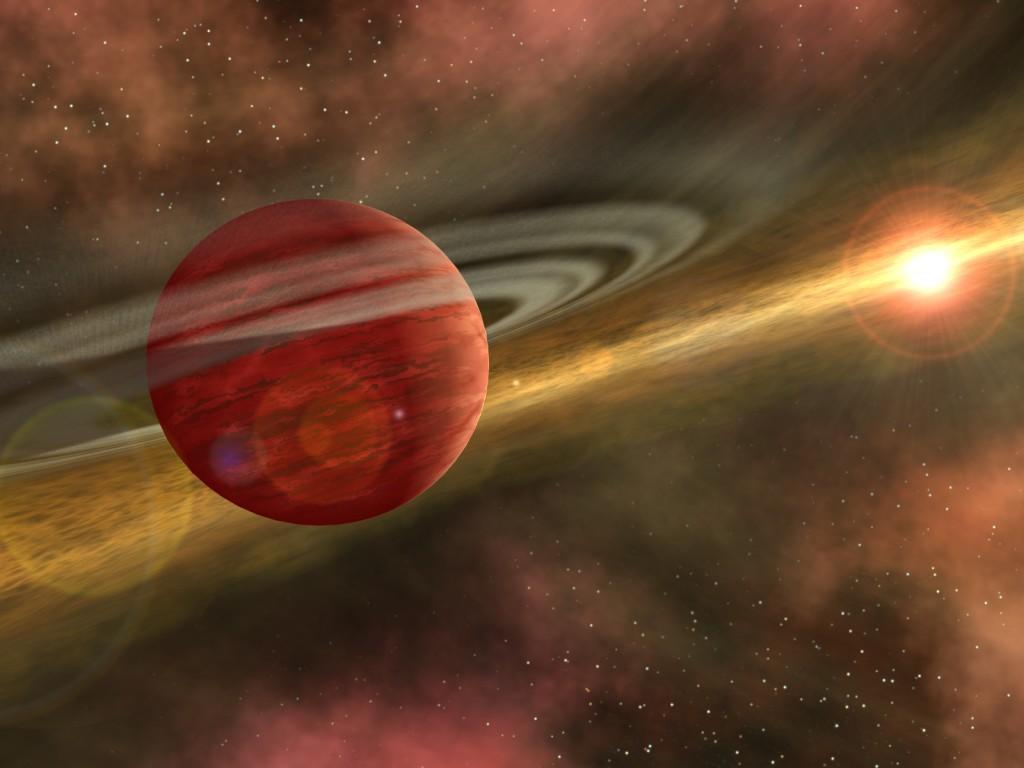 Илюстрация на млада планета като HD 106906b на далечна орбита около своята звезда. Илюстрация: NASA/JPL-Caltech