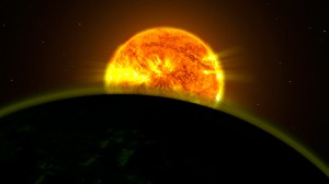 Илюстрация на една от планетите, в атмосферата на която е открита вода. Илюстрация: NASA Goddard Space Flight Center