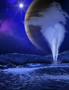 Илюстрация на гейзерите на луната на Юпитер Европа. Автор: NASA/ESA/K. Retherford/SWRI