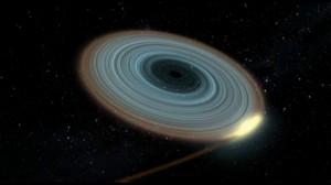 Илюстрация на черната дупка и диска около нея. Автор: Gabriel Pérez - SMM (IAC)