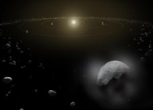 Церера (долу вдясно) е единствената планета-джудже в Слънчевата система. Изображение: ESA/ATG medialab