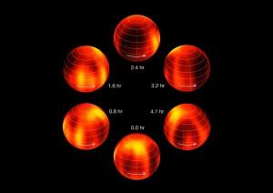 Картата показва движението на тъмните и светли участъци по повърхността на Луман 16B. Изображение: ESO/I. Crossfield
