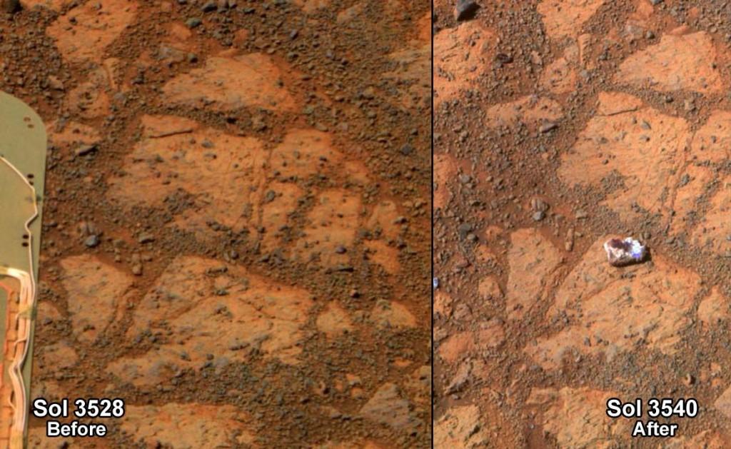 Снимката вдясно показва мистериозно появилия се камък, а тази вляво е на същото място 13 дни по-рано. Изображение: NASA/JPL-Caltech/Cornell Univ./Arizona State Univ.