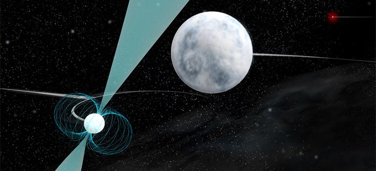 Илюстрация на уникалната тройна система - пулсарът (доля вляво), около който обикаля едното бяло джудже. Второто и по-далечно бяло джудже се вижда горе вдясно. Изображение: Bill Saxton, NRAO/AUI/NSF