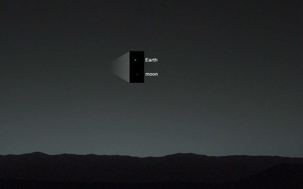 Земята и Луната в небето на Марс (кликни за по-голяма версия). Снимка: NASA/JPL-Caltech/MSSS/TAMU