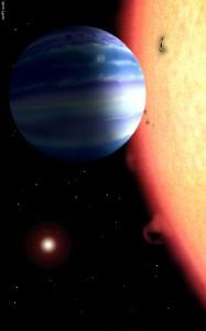 Горещ газов гигант около звезда като тау Боотес. Илюстрация: David Aguilar, Harvard-Smithsonian Center for Astrophysics